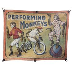 "Mid Century Circus Banner "" Performing Monkeys"" 