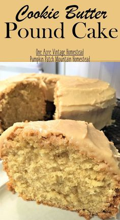 Cookie Butter Pound Cake Cookie Butter Pound Cake has delicious cookie butter within the cake and topped with a cookie butter frosting.⋆ One Acre Vintage & Pumpkin Patch Mtn. Cookie Butter Pound Cake ⋆ One Acre Vintage & Pumpkin Patch Mtn. Sweet Desserts, Just Desserts, Delicious Desserts, Dessert Recipes, Classic Desserts, French Desserts, Bakery Recipes, Homemade Desserts, Cookie Desserts