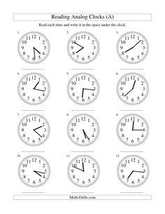 measurement worksheet reading time on an analog clock in 1 minute intervals a school. Black Bedroom Furniture Sets. Home Design Ideas