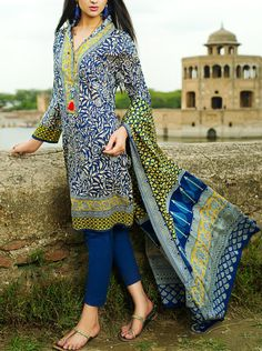 Buy Blue Printed Cotton Lawn Dress by Khaadi Lawn Collection Vol.II 2015.