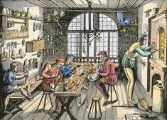 guilds-in the Middle Ages, associations of merchants or artisans who cooperated to uphold standards of their trade and to protect their economic interests D Smith, Jewellers Bench, Medieval Art, Hand Engraving, Middle Ages, Genealogy, Jewelry Shop, Workshop, History