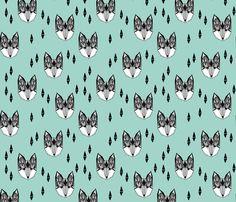fox // mint and grey fox head geometric fox animal nursery baby kids fabric by andrea_lauren on Spoonflower - custom fabric