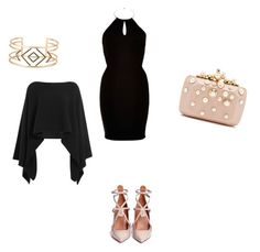 """Black x Nude"" by soficasagrande on Polyvore featuring Valentino, River Island, Elie Saab, Stella & Dot and Donna Karan"