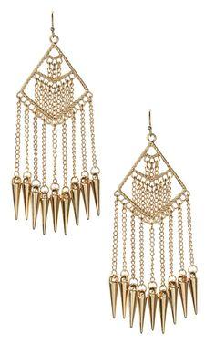 Chain Spike Dangling Earrings GOLD