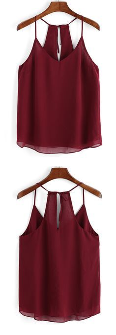 Spaghetti Strap Chiffon Cami Top More(Diy Ropa Remeras) Casual Outfits, Summer Outfits, Cute Outfits, Chiffon Cami Tops, Vetement Fashion, Summer Shirts, Cute Tops, Diy Clothes, Outfit Goals