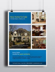 Real Estate Flyer  Blue/Yellow Photo Block Flyer by BlueIrisStudio