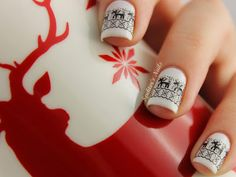 #lulusholiday White Christmas Reindeer Nails