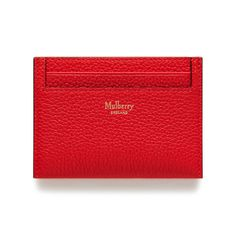 Shop the Credit Card Slip in Fiery Red Small Classic Grain Leather at Mulberry.com. A practical design featuring four slots for credit and business cards. A concealed slim middle slip pocket is ideal for receipts or tickets.