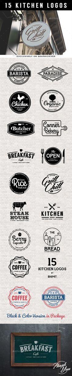 15 Kitchen logos #logos #design Download: http://graphicriver.net/item/15-kitchen-logos/10889428?ref=ksioks