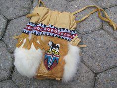 Yukon beaded deerskin and rabbit fur drawstring bag / Vintage First Nations Canadian Yukon Souvenir bag / medicine bag - pinned by pin4etsy.com