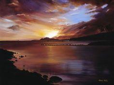 USA, Hawaii Islands, Oahu, Landscape Of Sunset Over Ocean (Blue) (Sunset of Hawaii Kai Oil Painting); Hawaii Kai Poster Print (34 x 26)