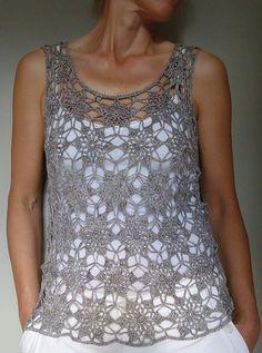 Crochet blouse with square Crochet Bolero, Crochet Lace Edging, Crochet Cardigan Pattern, Crochet Tunic, Crochet Diagram, Crochet Clothes, Knit Crochet, Modern Crochet Patterns, Crochet Summer Tops