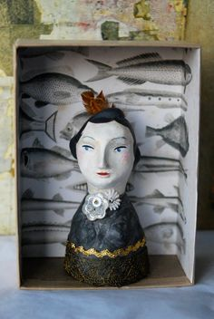 Dolly, handmade palm size doll in shadow box. by Sarah Young. $95