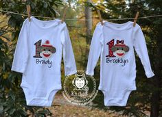 Twins sock monkey birthday outfits by KsClosetBoutique on Etsy!