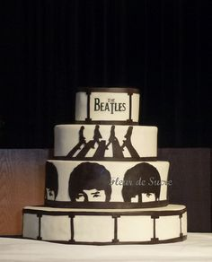 Beatles Cake for Birthday and music fan. Chocolate cake with passionfruit ganache Beatles Birthday, Beatles Party, Beatles Cake, The Beatles, Fondant Cakes, Cupcake Cakes, Cupcakes, Sweet 16 Birthday, Birthday Cake