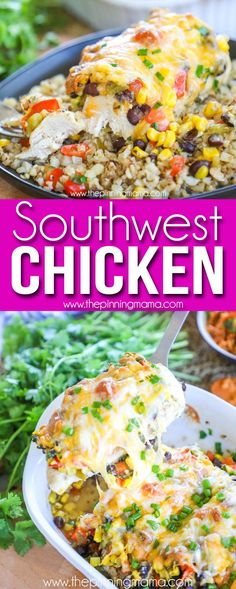 Hubby LOVED this recipe! The BEST Baked Southwest Chicken- Healthy dinner recipe… Hubby LOVED this recipe! The BEST Baked Southwest Chicken- Healthy dinner recipe. Made with chicken breast, green chiles, corn, black beans, and southwestern spices. Mexican Food Recipes, New Recipes, Dinner Recipes, Cooking Recipes, Favorite Recipes, Healthy Recipes, Family Recipes, Cheap Recipes, Fast Recipes