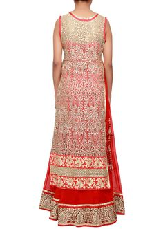 Anarkali suit in red georgette. Its mathced with beige top in net embroidered in zari. Churidar in red santoon & dupatta in red net with lurex border Churidar, Anarkali, Beige Top, Indian Dresses, Embroidery, Summer Dresses, Suits, Red, Tops