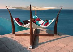Shaded Hammock. Pillows and a good book (or good company) would make a good day.