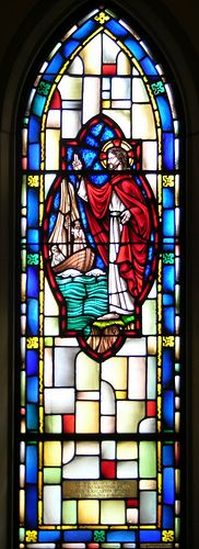 stained glass windows in the sanctuary of All Saints Episcopal Church, Morristown, TN