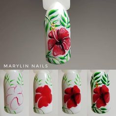 """Receive excellent pointers on """"nail paint ideas polish easy"""". They are on call for you on our internet site. Tulip Nails, Flower Nails, Nail Art Tropical, Spring Nails, Summer Nails, Nail Art Modele, Nail Art Fleur, One Stroke Nails, Floral Nail Art"""