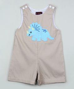 Gray Dinosaur Shortalls - Infant & Toddler