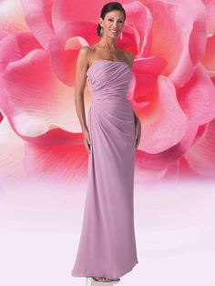 A-Line Strapless No Waist/Princess Seams Ruched Long Chiffon Purple Mother of The Bride Dress