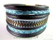 Herren Lederarmband, blau mit Reißverschluss