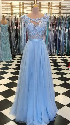 On Sale Suitable Long Bridesmaid Dresses Blue Round Neck Tulle Lace Applique Long Prom Dress, Blue Tulle Bridesmaid Dress Tulle Bridesmaid Dress, Prom Dresses Blue, Cheap Prom Dresses, Formal Evening Dresses, Homecoming Dresses, Evening Gowns, Dress Prom, Party Dresses, Expensive Prom Dresses