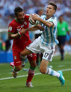 Reza Ghoochannejhad & Federico Fernandez : Argentina v Iran: Group F - 2014 FIFA World Cup Brazil