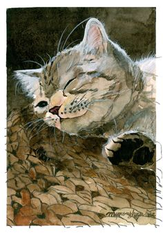 Cat on a Straw Mat Original Watercolor Painting