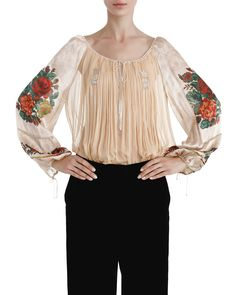 <p>Ie din voal de mătase cu dantelă, print digital și aplicații de mărgele</p> Bell Sleeves, Bell Sleeve Top, Blouse, Long Sleeve, Folk, Traditional, Women, Fashion, Moda