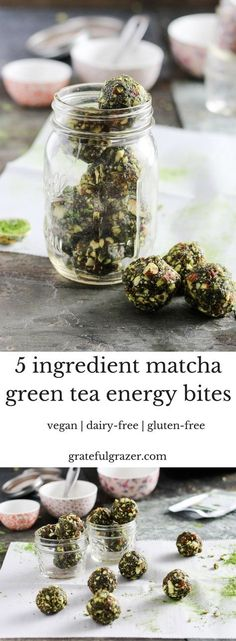 These simple 5-ingredient matcha energy bites are nourishing and delicious for convenient snacking on-the-go.  Energize with antioxidant-rich green tea! via @gratefulgrazer