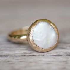 Fresh Water Coin Pearl Ring | Bohemian Gypsy Jewels | Indie and Harper
