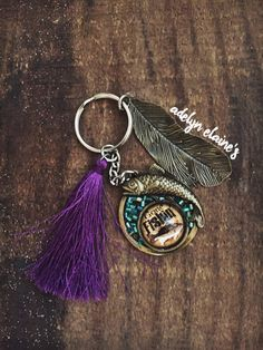 Purple Tassel Gone Fishin' Keychain