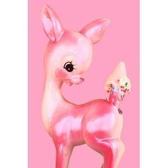 deer print pink fawn ice cream 8 x 12 OH DEER by boopsiedaisy