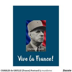 Shop CHARLES de GAULLE (France) Postcard created by mundovivo. Paris Gifts, Gaulle, Classic Portraits, French History, French President, World War Two, Postcard Size, Paris France, Smudging
