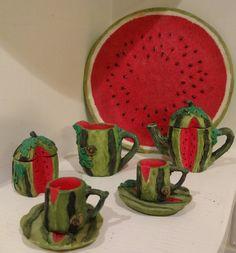 10 piece Miniature Tea Set with Watermelon Motif
