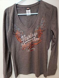 d7574c6832a Harley Davidson Long Sleeve V-Neck - Women s - Large - Gray  fashion