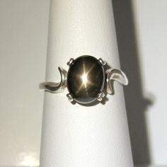 Natural 3ct 6-Ray Black Star Sapphire Ring Sterling by TSNjewelry