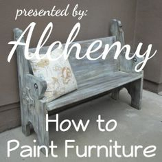 Furniture painting technique tutorial. How to create a farmhouse finish on painted furniture using a simple furniture painting technique. How to paint and distress wood furniture.