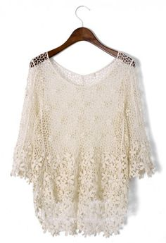 Crochet Mesh Mid-Sleeve Top