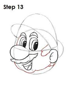 Draw Mario Nintendo Step 13