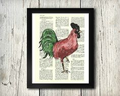 Standing Rooster watercolor & ink upcycled art print on a 8x10 dictionary page.  This listing is for the PRINT ONLY; frame not included. © Angie Canavan Designs. All rights reserved. Copyright does not transfer with sale.   Orders will be dispatched within 3 working days of payment being received and sent via USPS. Orders sent via USPS will normally take between 1-3 days to be delivered but please allow up to 7 days for your order to arrive.  International orders will be dispatched within 3…