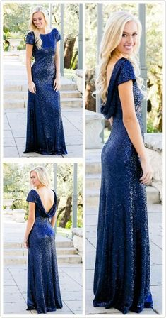 elegant navy sequined bridesmaid dress, fashion cap sleeves sequied wedding party dress, sheath floor length prom dress, Never miss out on the trendy, in-style dresses ever again! You can be the star of your prom in your 2020 prom dress! Royal Blue Bridesmaid Dresses, Prom Dresses Blue, Modest Dresses, Evening Dresses, Blue Bridesmaids, Bridesmaid Gowns, Prom Gowns, Formal Dresses, Wedding Dresses