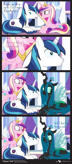 Comic Block: Sweet Talk by on deviantART *Oh. *sad squeak* I feel bad for Crysalis.* (or however u spell her name) My Little Pony Characters, My Little Pony Comic, My Little Pony Drawing, My Little Pony Pictures, Childhood Characters, Mlp Comics, Funny Comics, Princess Cadence, Princess Celestia