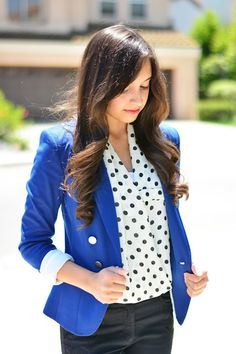 Iman of Polka Dots and Purses wearing a Charlotte Russe polka dot blouse in her latest #ootd for a business casual look!