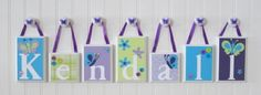 Personalized Name Nursery Wood Block Letters NoJo Beautiful Butterfly | OhMyButtonsAndBows - Children's on ArtFire