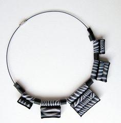 Paper jewelry Black and white paper bead by HandmadeJewelryEgeo
