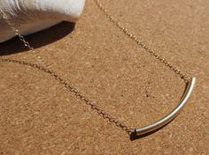 Gold tube noodle necklace by PanachebyAmanda on Etsy, $28.20