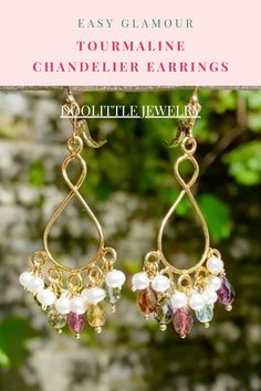 Cluster Earrings, Gemstone Earrings, Women's Earrings, Tourmaline Jewelry, Tourmaline Gemstone, Pearl Chandelier, Chandelier Earrings, Pearl Jewelry, Wedding Jewelry